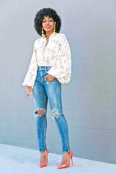 Floral Bishop Sleeve Top + High Waist Distressed Jeans