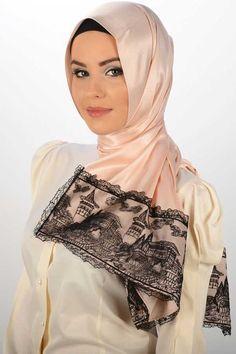2015 Tesettür Şal Modelleri  istanbul desen  butikALL.com Dantelli ipek örünümlü Şal - Neva Style