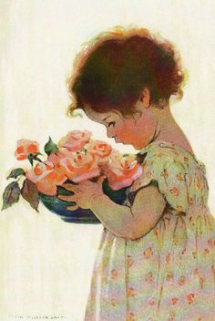 "At last, I've come across another picture by Jessie Wilcox Smith!  This one is titled ""Sweet Roses"" and was used on the cover of Good Housekeeping magazine in July 1923."