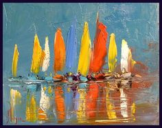 Sail boats painting sailboats 54 New Ideas Sailboat Art, Sailboat Painting, Sailboats, Seascape Paintings, Watercolor Paintings, Landscape Artwork, Beach Art, Art Techniques, Painting Inspiration