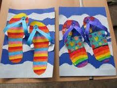 slippers for the summer - crafts, back to school - Schule Summer Crafts, Crafts For Kids, Arts And Crafts, Spring Art, Summer Art, Arte Elemental, Classe D'art, 3rd Grade Art, School Art Projects