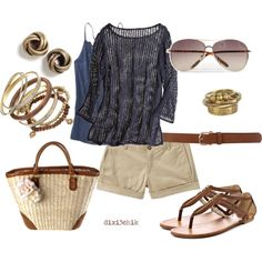 Relaxed by dixi3chik on Polyvore featuring Old Navy, G by Guess, H&M, Miss Selfridge, Made, MANGO, Dorothy Perkins, Calypso St. Barth, straw bags and wooden jewelry