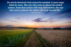 Illustration of Galatians — Do not be deceived: God cannot be mocked. A man reaps what he sows. The one who sows to please his sinful nature, from that nature will reap destruction; the one who sows to please the Spirit will reap eternal life. Wisdom Bible, Bible Verses Quotes, Scriptures, Bible Verses About Death, Free Daily Devotional, Daily Bible, Galatians 6 7, Proverbs 2, Do Not Be Deceived
