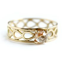 Rose Cut Diamond Engagement Ring  Solid 14k Gold and by moiraklime