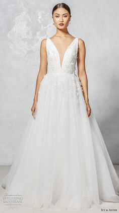ivy aster fall 2017 bridal sleeveless deep v neck embellished bodice romantic a  line wedding dress open v back chapel train (faye) mv