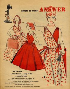 An ad for lovely, easy to make summertime tie wrap dresses from 1950s.