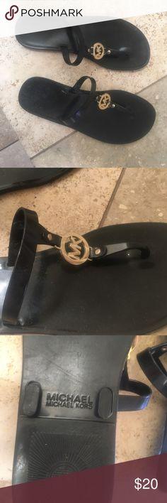 Michael Kors Dark Brown Flip Flop Classic Summer sandal. Dark Brown jelly sandal with gold MK logo. Size 8 Michael Kors Shoes Sandals