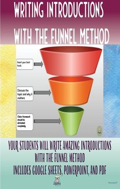 Writing introductions is an essential skill that many students struggle to master. The funnel method is the easiest way to teach introductions that amp up your students' writing, while giving them a structure that is easy to remember. Grab my funnel metho Writing Strategies, Writing Resources, Teaching Strategies, Classroom Resources, Teaching Methods, Teaching Resources, Teaching Ideas, Expository Writing, Informational Writing