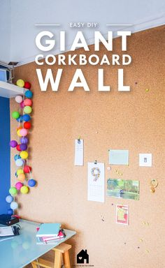 Guide on how to install a DIY Corkboard Wall. It's a great way to stay organised and is ideal for a small home office or children's bedroom. Guest Room Office, Home Office Decor, Basement Craft Rooms, Playroom, Diy Wall, Wall Decor, Diy Cork Board, Cork Boards, Small Home Offices