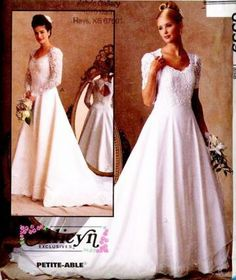 McCalls 8559 Sewing Pattern Wedding Dress Scooped Neckline Attached Train sizes Extra Small to Small by SewMrsP for $6.00