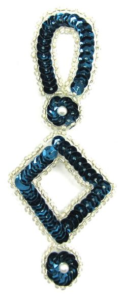 """Designer Motif Drop with Dark Turquoise Sequins Silver Beads 4.5"""" x 2"""""""