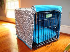 Dog crate cover - would really improve the look of the dog room, but I wonder how fast Pavel could coat one of these in hair?  ;)