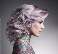 silvery purple hair & tattoos