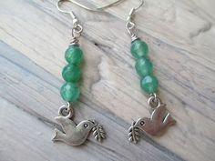 Emerald  Green Silver Bird Earrings Boho Summer Earrings  Dangle Drop Earrings Jewelry by MillyLillyDesigns on Etsy