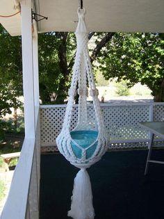 Macrame plant hanger - white Whispering. $29.00, via Etsy.