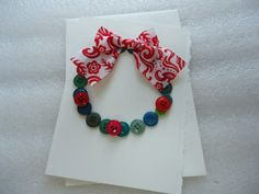 Handmade  Buttons Wreath Christmas Card with by ChicEventsDecor