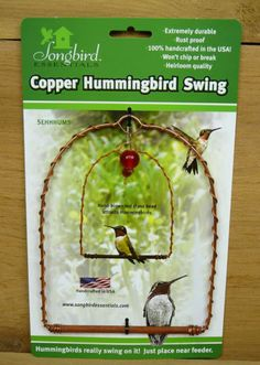 Songbird-Essentials-Copper-Hummingbird-Swing-Hanging-Perch-w-Red-Glass-Bead