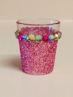 Glitter Shot Glass with rhinestones, made by Kim Alderson Goeger