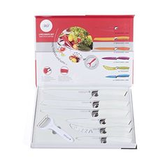 Professional 7 Piece Stainless Steel Kitchen Knife Set With Carry Case in White by Waltman Uhn Sohn Zuvo http://www.amazon.co.uk/dp/B00NQHQ39Q/ref=cm_sw_r_pi_dp_oGlDvb0A1RE3X