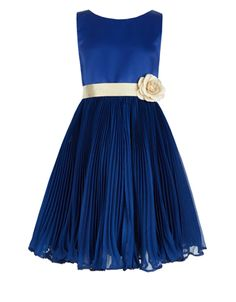 Our picture-perfect Marilyn dress for girls is crafted with a duchess satin bodice, a grosgrain ribbon sash with a detachable flower corsage, and a pleated c. Kids Bridesmaid Dress, Royal Blue Bridesmaid Dresses, Royal Blue Dresses, Wedding Bridesmaids, Girls Party Dress, Girls Dresses, Flower Girl Dresses, Flower Girls, Party Dresses