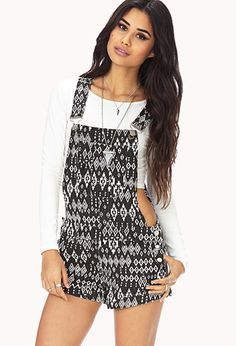 Ikat Print Overall Shorts | FOREVER21 - 2000051811