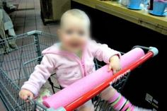 Slice a pool noodle open and put it on the shopping cart!