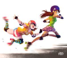 stephenmccranie: Roller derby girls— painting practice.