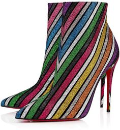 Christian Louboutin United States Official Online Boutique - So Kate Booty 100 Multi Suede Stripyglitter available online. Discover more Women Shoes by Christian Louboutin Heeled Boots, Bootie Boots, Shoe Boots, Women's Boots, Shoes Sandals, Louboutin Online, White Ankle Boots, Glitter Boots, Christian Louboutin So Kate