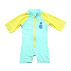 Keep your little one protected from the sun while being stylish at the beach in this Rashguard Aqua Romper with protective fabrication