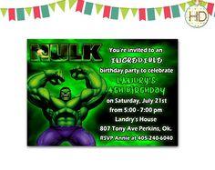 Hulk Invitation Hulk Birthday Invitation Hulk by HDInvitations Hulk Party, Superhero Party, Superhero Invitations, Birthday Invitations, Hulk Birthday, Incredible Hulk, Invite, Birthday Parties, Printable