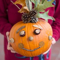 Kids will love creating a whimsical No-Carve Nature Pumpkin with pinecones, nuts, seeds, leaves, and twigs. Perfect autumn fun for families! Fairy Halloween Costumes, Halloween Crafts, Happy Halloween, Halloween Party, Halloween Ideas, Halloween Week, Fall Crafts, Holiday Crafts, Owl Pumpkin Carving