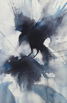 As the crow flies by Sarah Yeoman Watercolor ~ 21 x 14