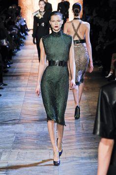 Yves Saint Laurent Fall 2012 Green Sparkling Turtleneck Sleeveless Midi Dress in Green | Lyst
