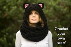 CROCHET PATTERN Cat Scarf Scoodie Hooded Scarf por WellRavelled