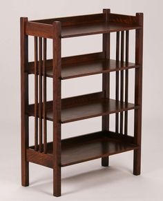 Stickley Brothers spindled tall bookshelf.  Signed.  Very nicely refinished.