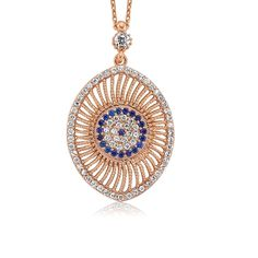 Evil Eye Necklace, Gold Colored, 925 Sterling Silver Filled with CZ stones , Fine Jewelry from Turkey only for $39.99