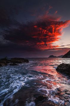 Red clouds...