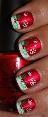 Red Metallic Christmas nails with white French tips and hand painted Green holly White Snow Flakes Free Hand Nail Art - Holiday