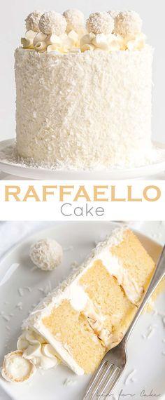 This Raffaello Cake is a coconut lover& dream! Layers of moist and tender a. , This Raffaello Cake is a coconut lover& dream! Layers of moist and tender almond cake, coconut custard, and coconut Swiss meringue buttercream. Cupcake Recipes, Baking Recipes, Cupcake Cakes, Dessert Recipes, Layer Cake Recipes, Layer Cakes, Birthday Cake Recipes, Muffin Cupcake, Frosting Recipes