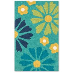 Loloi Rugs Green & Blue Angelou Rug ($15) ❤ liked on Polyvore featuring home, rugs, aqua area rug, blue green rugs, aqua blue area rugs, flower stems and blossom rug