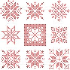 Set of 9 cross-stitch snowflakes pattern, Scandinavian style. Geometric redwork ornament for embroidery. Perfect for Christmas design. Vector illustration - Set of 9 cross-stitch snowflakes pattern, Scandinavian style. Cross Stitch Christmas Ornaments, Xmas Cross Stitch, Christmas Embroidery, Cross Stitch Kits, Christmas Cross, Cross Stitch Designs, Cross Stitching, Cross Stitch Embroidery, Embroidery Patterns
