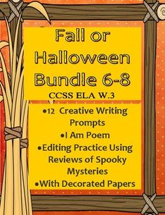 Fall or Halloween Editing Practice and Creative Writing Bundle CCSS Middle School Writing, Middle School English, Middle School Teachers, High School, Secondary Teacher, Student Teacher, I Am Poem, Teacher Resources, Teaching Tools