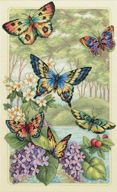 Butterflies fly in the forest, counted printed on fabric DMC Cross Stitch kits,embroidery needlework Sets, Home Decor Dmc Cross Stitch Kits, Cross Stitch Designs, Cross Stitch Patterns, Loom Patterns, Butterfly Cross Stitch, Cross Stitch Flowers, Butterfly Pattern, Cross Stitching, Cross Stitch Embroidery
