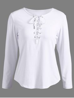 GET $50 NOW | Join RoseGal: Get YOUR $50 NOW!http://www.rosegal.com/t-shirts/lace-up-long-sleeve-t-shirt-696448.html?seid=7304043rg696448