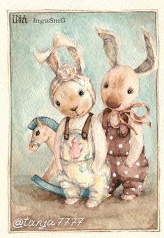 by Inga Izmaylova Cute Images, Cute Pictures, Children's Book Illustration, Illustrations, Etiquette Vintage, Rabbit Art, Bunny Art, Baby Scrapbook, Vintage Easter
