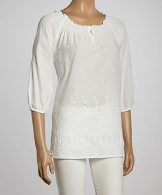 Another great find on #zulily! White Embroidered Peasant Top - Women #zulilyfinds