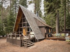 This is a stunning Carnelian Bay A-frame Vacation Cabin where you can vacation! Tucked beneath gorgeous pines, this charming tiny house sleeps 6 with one bedroom and a loft. It's minutes to L… #TinyCabins