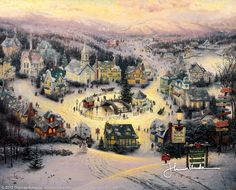 "St. Nicholas Circle [1993] © Thomas Kinkade "" I began this painting in Norman Rockwell's famous studio near Arlington, Vermont. Many charming New England cottages made their way into St. Nicholas Circle. In this idyllic spot time stands still, and it's Christmas all year 'round."""