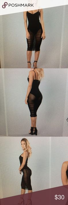 Body con dress Black see thru dress. Worn one time for my birthday! Still looks brand new Fashion Nova Dresses Midi
