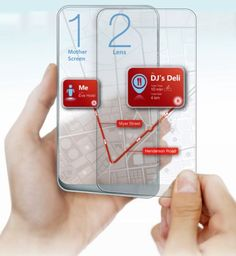 Transparent Dual Display Phone (concept) created by Wenhing Chu & Kok Keong Wong and known as the Space 3. You can split them and still pair them most likely via wireless and this is very cool, since you get double the screen estate you'd normally benefit from. We must also mention that the screens have divided roles, as one is the Mother and the other one is the Lens.